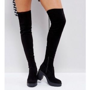 ASOS Chunky Suede Heeled Over Knee Boots